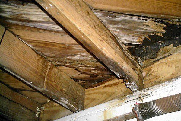 Нарушение технологии при устройстве мансардной крыше может привести к порче деревянных элементов