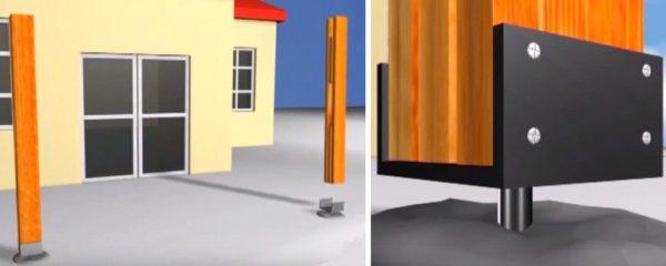 После застывания бетона выполняют монтаж вертикальных опор