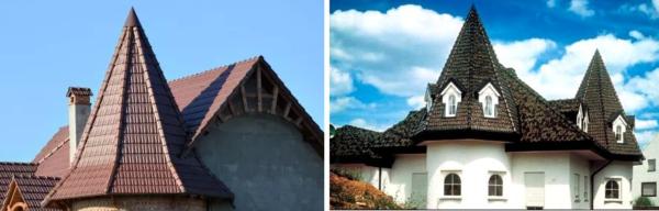 Шпилеобразные крыши очень декоративны, но сложны в монтаже