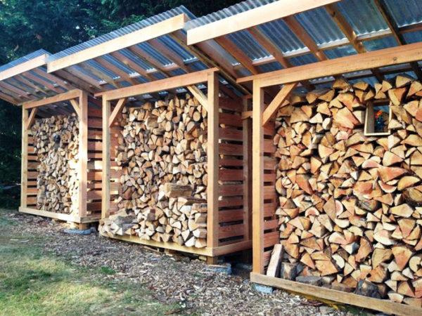 Компактные дровяники занимают мало места и могут устанавливаться в любом свободном уголке участка