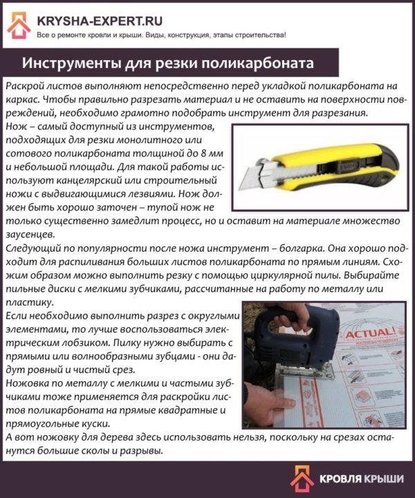 Инструменты для резки поликарбоната