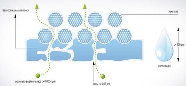 Благодаря особой структуре, гидроизоляционная мембрана абсолютно непроницаема для воды, но легко пропускает испарения