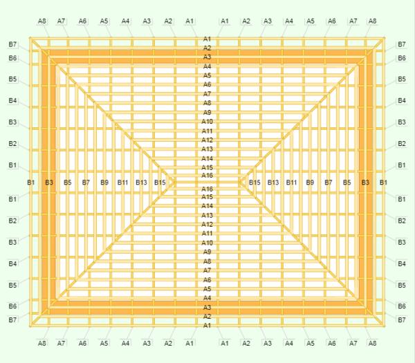 Калькулятор дает схематический чертеж, на котором каждый элемент имеет свое обозначение