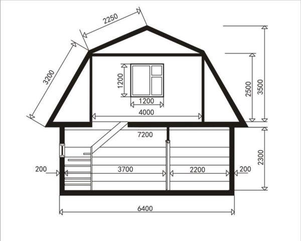 У ломаной крыши нужно высчитывать по размерам каждый скат отдельно
